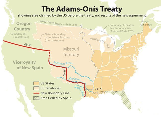 Adams–Onis Treaty map