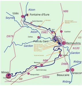 Nimes aqueduct map