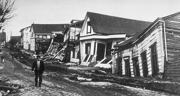 A Valdivia street after the 1960 earthquake