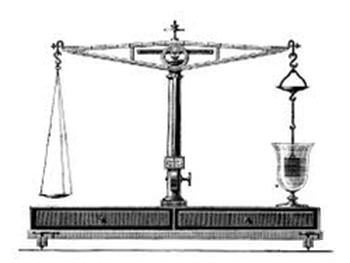 Diagram of Galiloe's hydrostatic balance