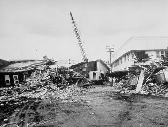 Hilo, Hawaii after the 1960 Chilean Tsunami