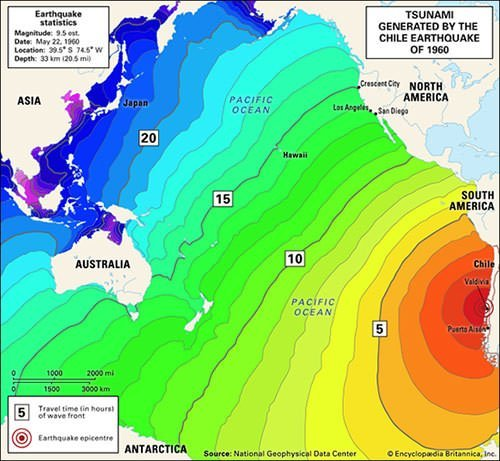 Map of 1960 Valdivia tsunami
