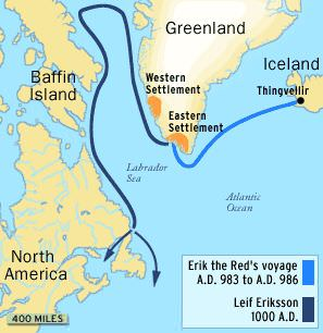 Map of the voyages of Eric the Red