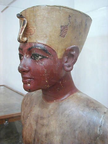 Wooden bust of Tutankhamun