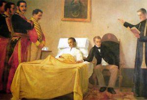 Painting of Death of Simon Bolivar