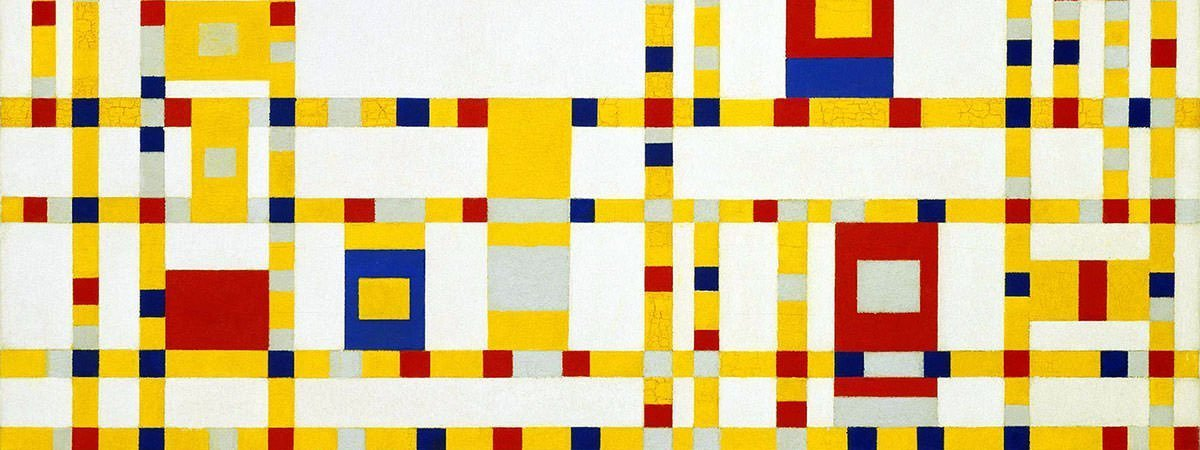 Piet mondrian (1872-1944), composition with grid 8: checker board composition with dark colours, 1919 oil on canvas