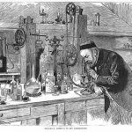 Louis Pasteur conducting an experiment