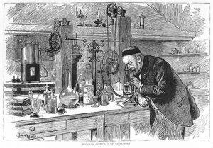 Louis Pasteur conducting an experiment