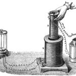 Faraday's electromagnetic induction experiment drawing