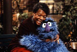 Maya Angelou on the set of Sesame Street