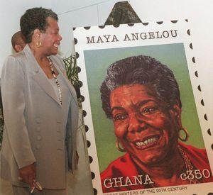 Maya Angelou with her Ghana postage stamp