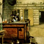 Painting of Michael Faraday in his laboratory