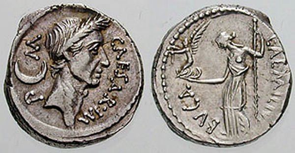 Roman Coin depicting Julius Caesar