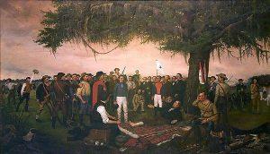 Surrender of Santa Anna painting