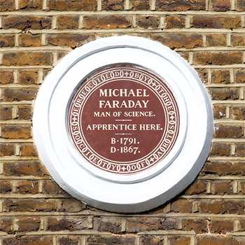Michael Faraday apprenticeship plaque