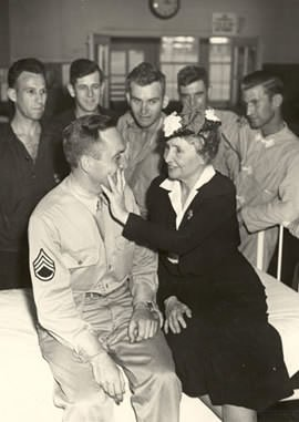 Helen Keller at an army hospital during WWII