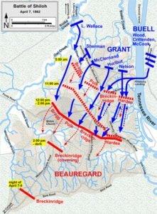 Battle of Shiloh Map - April 7