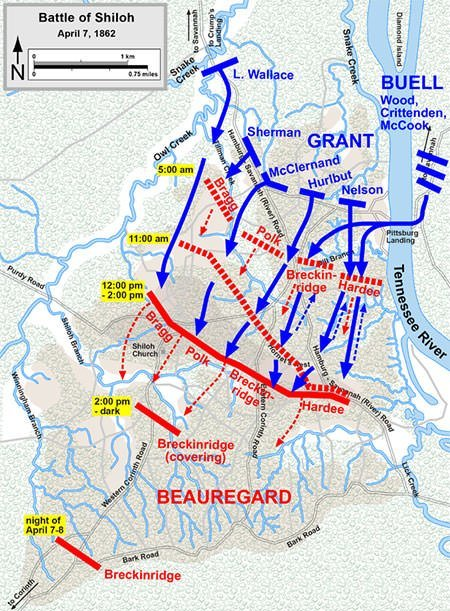 Battle of Shiloh Map - April 7
