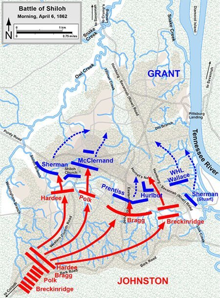 Battle of Shiloh Map - April 6 morning
