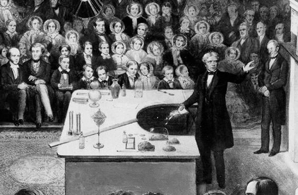 Michael Faraday delivering a Christmas lecture at the Royal Institution
