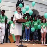 Nancy Reagan at a 'Just Say No' rally