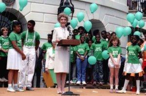 Nancy Reagan at a 'Just Say No' rally