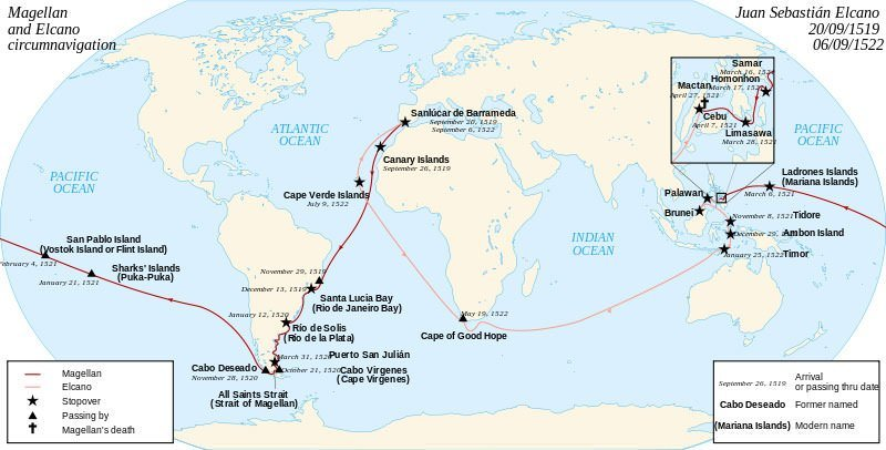 Map of the first world circumnavigation