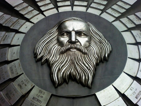 Monument to periodic table and Dmitri Mendeleev