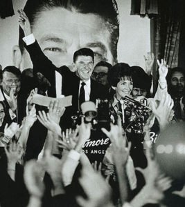 Reagan and his wife Nancy after winning Governorship of California