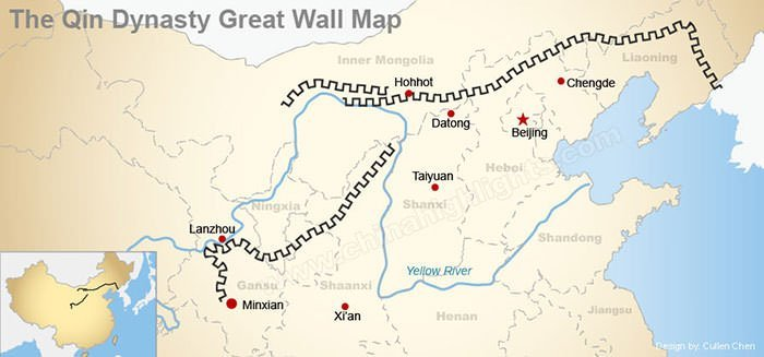 Map of the Great Wall of the Qin Dynasty