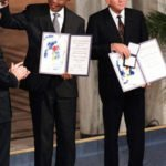 Nelson Mandela and Frederik de Klerk with Nobel Peace Prizes