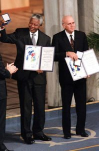 Nelson Mandela and Frederik de Klerk with Nobel Peace Prizes
