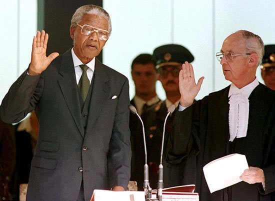 Nelson Mandela being sworn in as President