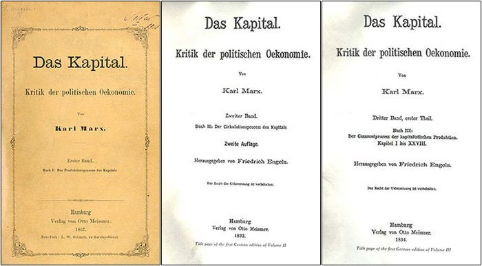 First editions of the three volumes of Das Kapital