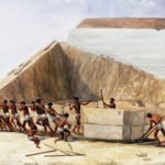A depiction of construction of the Great Pyramid