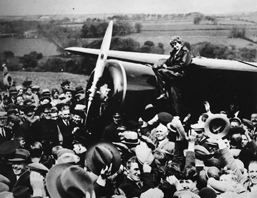 Amelia Earhart after her solo transatlantic flight