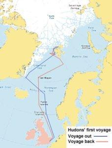 Map of Henry Hudson's 1607 Voyage