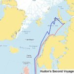 Map of Henry Hudson's 1608 Voyage