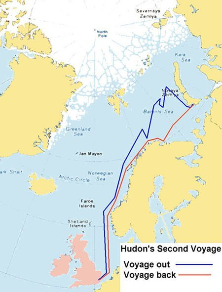 Map of Henry Hudson's 1608 Voyage