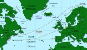 Map of Henry Hudson's 1609 and 1610-11 voyages