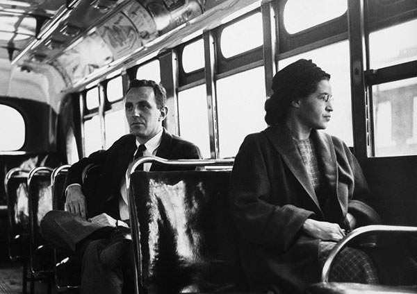Rosa Parks in a bus after the Montgomery bus boycott