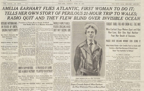 The New York Times on Amelia Earhart's 1928 transatlantic flight