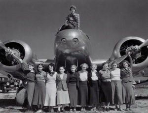 Amelia Earhart with Ninety-Nines' members
