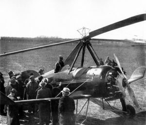 Amelia Earhart with an aurtogyro