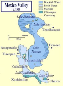 Map of Tenochtitlan's location on Lake Texcoco