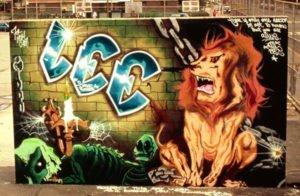 The Lion's Den mural by Lee Quinones