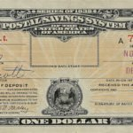 Certificate of 1 dollar deposit in the US Postal Savings System