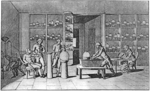 Antoine Lavoisier conducting an experiment on respiration