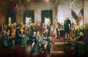 Scene at the Signing of the US Constitution