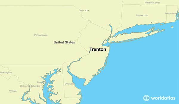 Map showing the location of Trenton